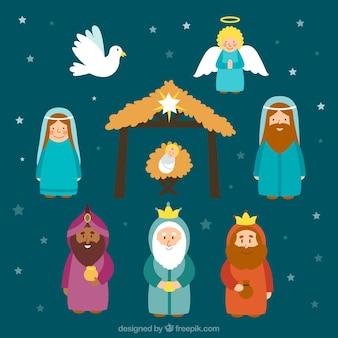 Schattige personages kerststal