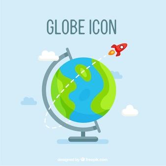 Schattige pictogram van de wereldbol