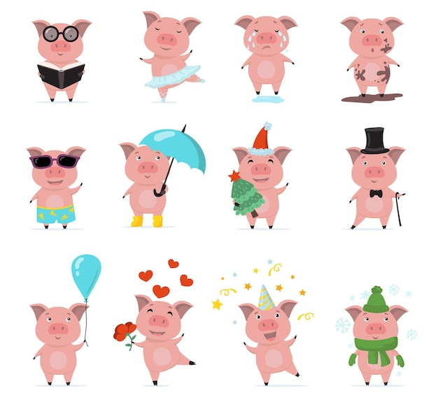 Schattige piggy tekens platte set