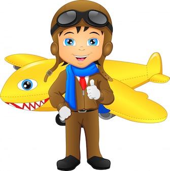 Schattige piloot cartoon