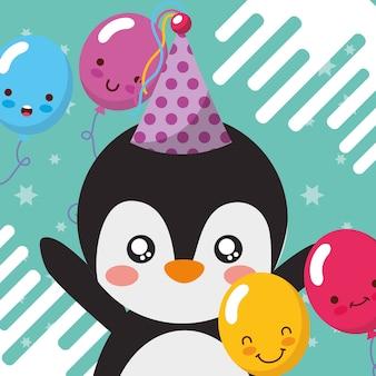 Schattige pinguïn ballonnen gelukkige verjaardag wenskaart
