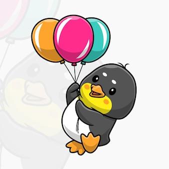 Schattige pinguïn die met ballonnen vliegt