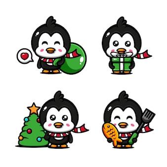 Schattige pinguïn karakter ontwerpset