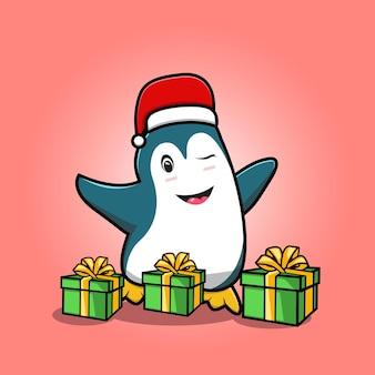 Schattige pinguïn met cadeaus en cartoon met kerstmuts