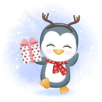 Schattige pinguïn met geschenkdoos in de winter en kerstillustratie