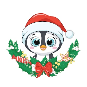 Schattige pinguïn met kerstkrans.