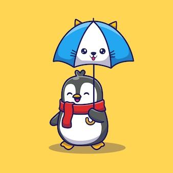 Schattige pinguïn met paraplu pictogram illustratie. dierlijke pictogram concept geïsoleerd. flat cartoon stijl