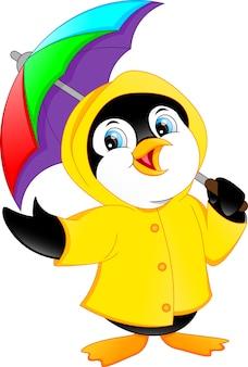 Schattige pinguïn met paraplu