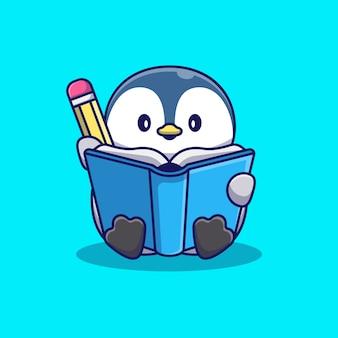 Schattige pinguïn schrijven op boek pictogram illustratie. dierlijke pictogram concept geïsoleerd. flat cartoon stijl