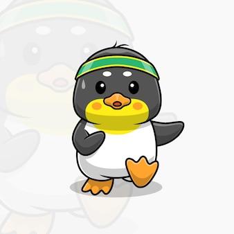 Schattige pinguïn work-out cartoon
