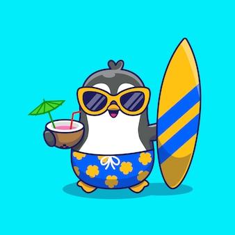 Schattige pinguïn zomer pictogram illustratie. dierlijke zomer pictogram concept geïsoleerd. flat cartoon stijl