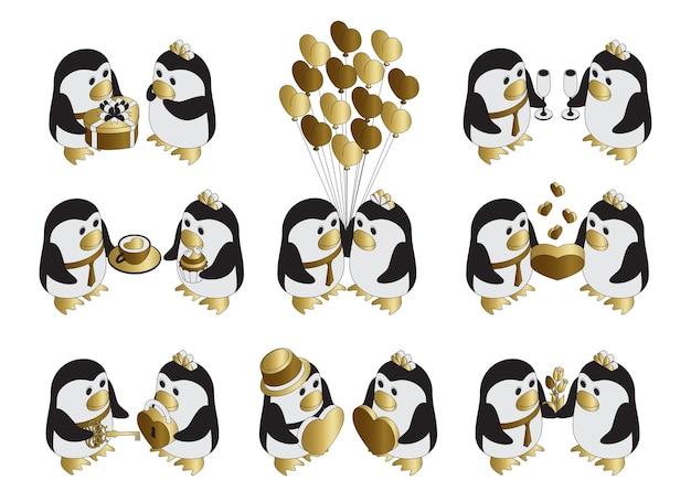 Schattige pinguïns verliefd. valentijnsdag tekens.