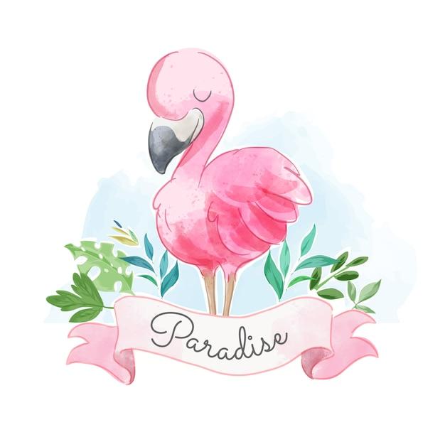 Schattige pink flamilngo met paradijs teken