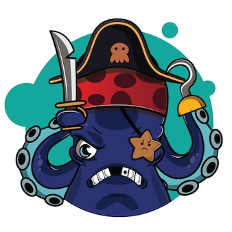 Schattige piraten octopus avatar