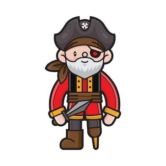 Schattige piraten stripfiguur
