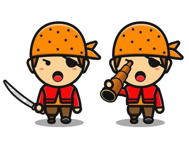 Schattige piratenjongen cartoon met zwaard