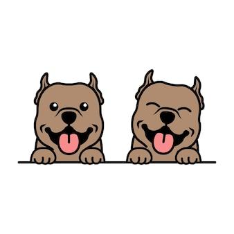 Schattige pitbull puppy tekenfilm, vectorillustratie