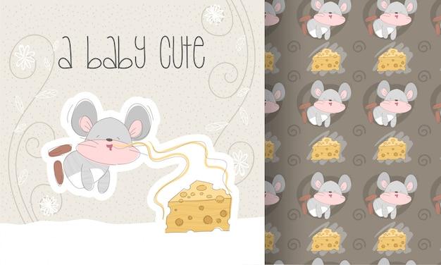 Schattige platte cartoon kleine muis met kaas naadloos patroon