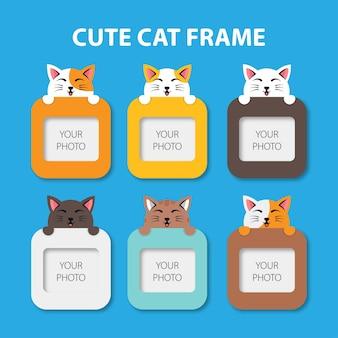 Schattige platte katten fotolijsten
