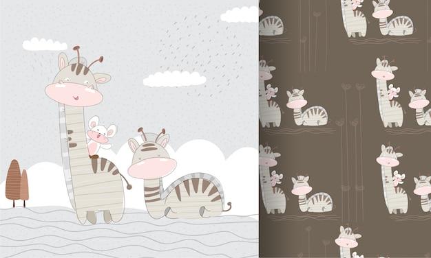 Schattige platte kleine muis met giraf naadloos patroon
