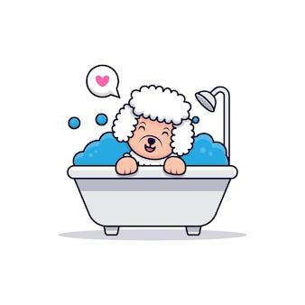 Schattige poedel hond houdt bad cartoon pictogram illustratie
