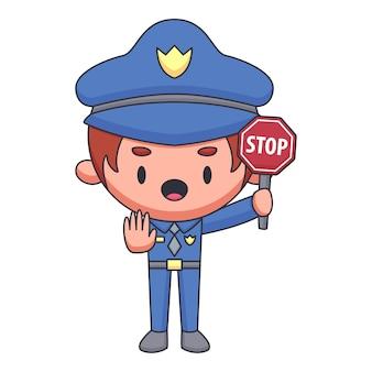 Schattige politieagent stripfiguur