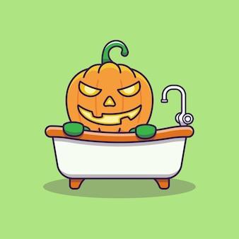 Schattige pompoen badend in de badkuip