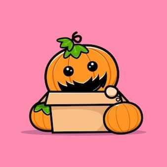 Schattige pompoen hoofd karakter in doos cartoon afbeelding