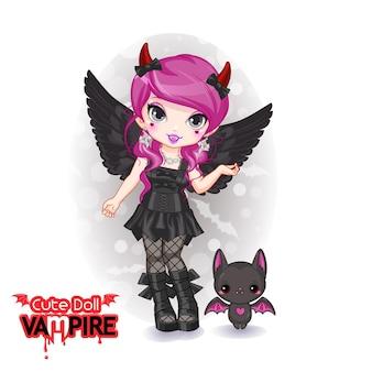 Schattige pop vampier chibi meisje