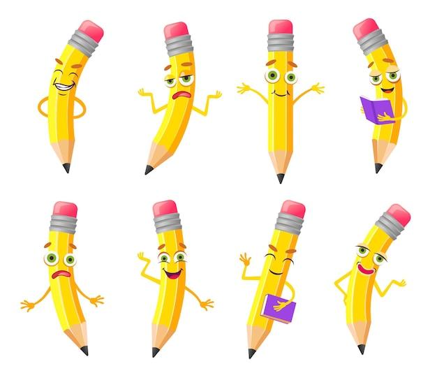Schattige potlood cartoon karakter illustraties set