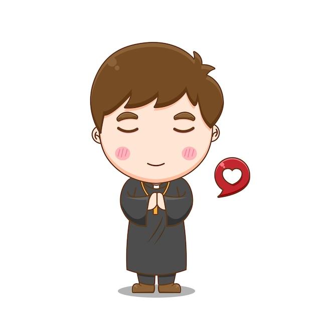 Schattige priester bidden