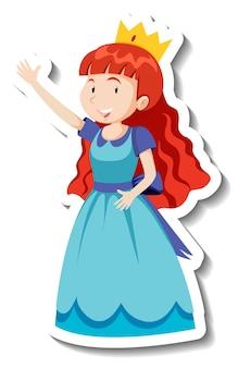 Schattige prinses in blauwe jurk stripfiguur sticker