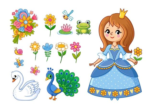 Schattige prinses met een bloem in haar hand