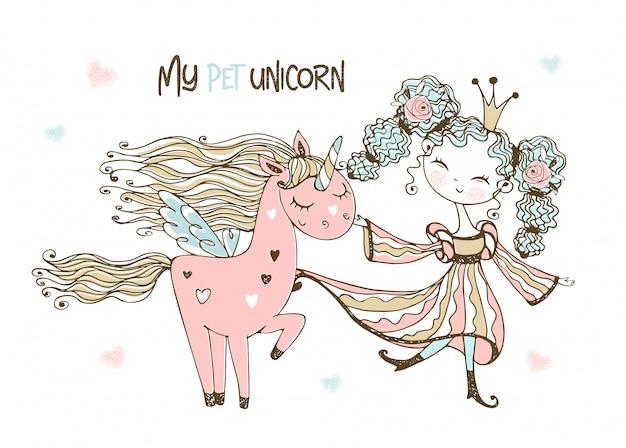 Schattige prinses met haar fantastische roze eenhoorn.