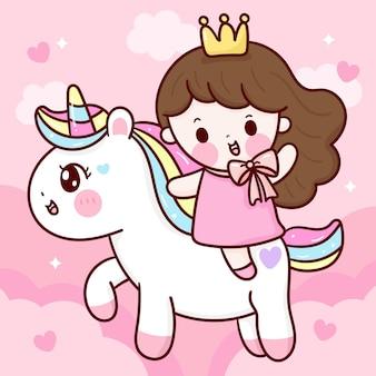 Schattige prinses rit eenhoorn cartoon met zoete hemel kawaiistijl