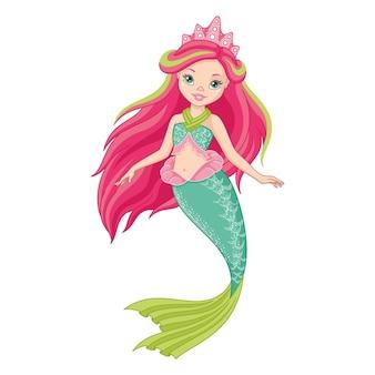 Schattige prinses zeemeermin illustratie geïsoleerd