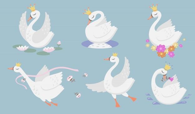 Schattige prinses zwaan platte pictogramserie