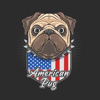 Schattige pug met embleem van de amerikaanse vlag