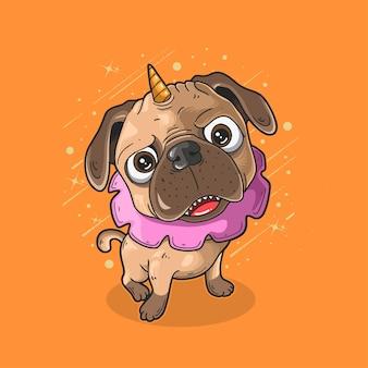 Schattige pug puppy cartoon met eenhoorn hoorn en roze schattige kraag illustratie op oranje background