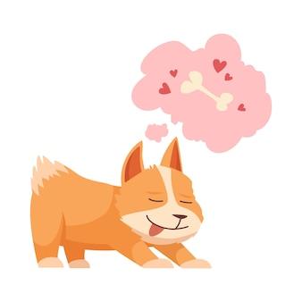 Schattige puppy droomt van bot cartoon
