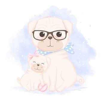Schattige puppy en vader hand getekende cartoon illustratie