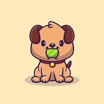 Schattige puppy hond bijten bal cartoon vectorillustratie pictogram. dierlijke sport icon concept geïsoleerde premium vector. platte cartoonstijl