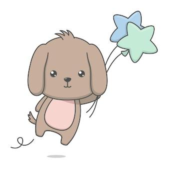 Schattige puppy hondje bedrijf ballonnen