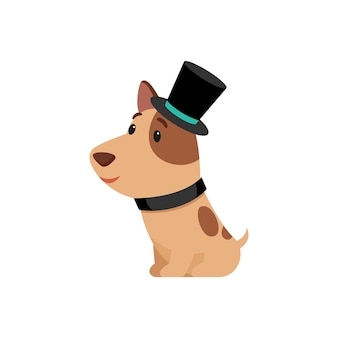Schattige puppy in ouderwetse kostuum stripfiguur