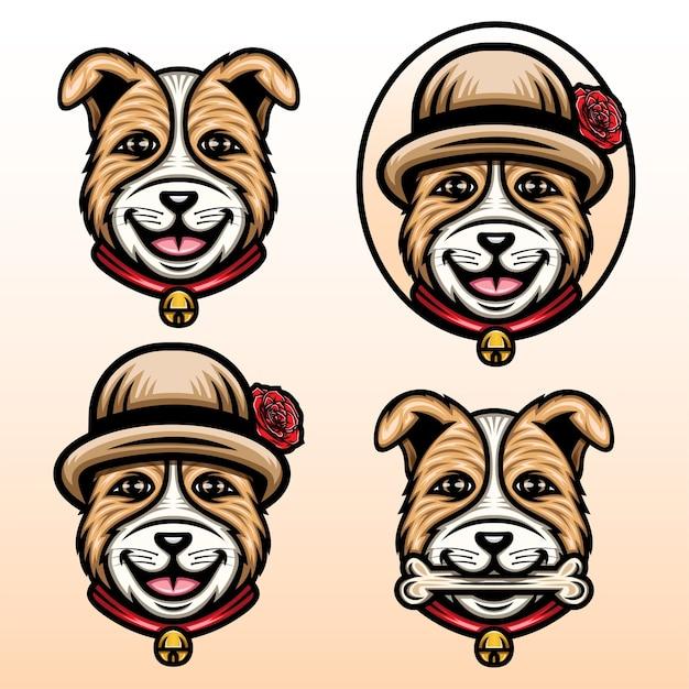Schattige puppy met een bloem hoed cartoon set illustratie.