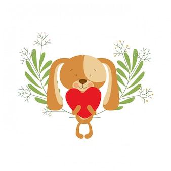Schattige puppy met harten in handen
