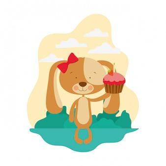 Schattige puppy met hartjes en cake