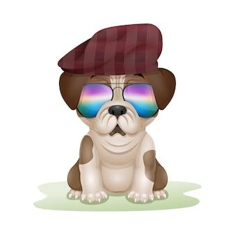 Schattige puppy pug cartoon in hoed en zonnebril