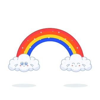 Schattige regenboog en wolkenuitdrukking