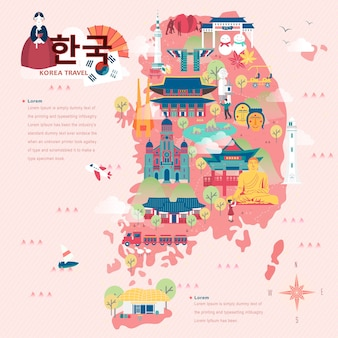 Schattige reiskaart van zuid-korea in vlakke stijl - korea in koreaanse woorden linksboven